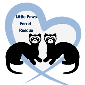 The Little Paws Ferret Rescue Logo of two ferrets within a blue heart