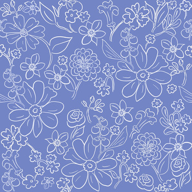 Hand-drawn garden outline in French Blue