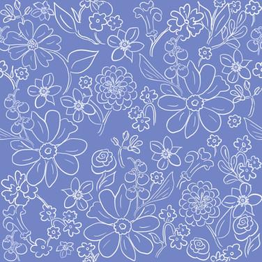 Hand-drawn garden outline in French Blue