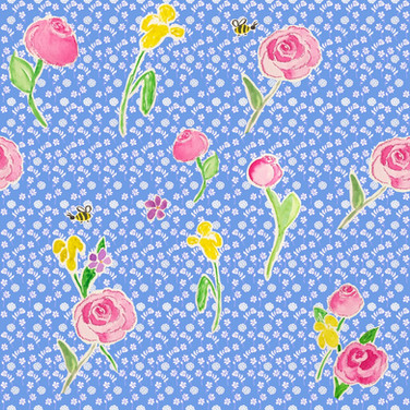Watercolor roses on French blue waves
