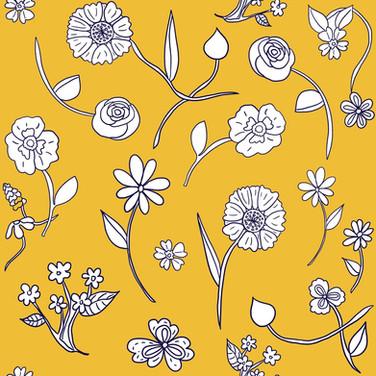 Hand-drawn flowers in sunshine