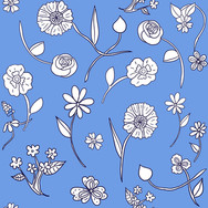 Hand-drawn flowers in French Blue