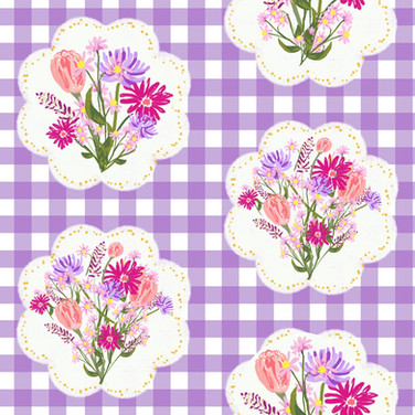 Wildflower doilies on purple gingham
