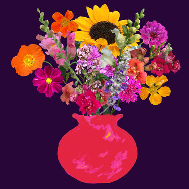 Bright pink vase still life on deep purple