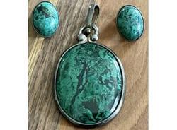 Malachite Pendant and Earrings Sterling.jpeg