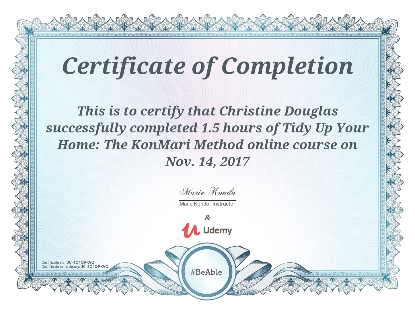 Marie Kondo's KonMari Method Online Course Certification of Completion