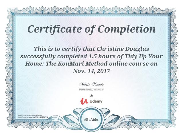Marie Kondo's KonMari Method Online Course Certification of Completion