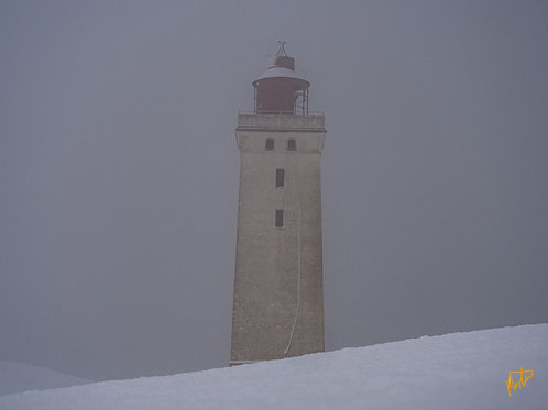 Rudbjerg Knude i sne og tåke