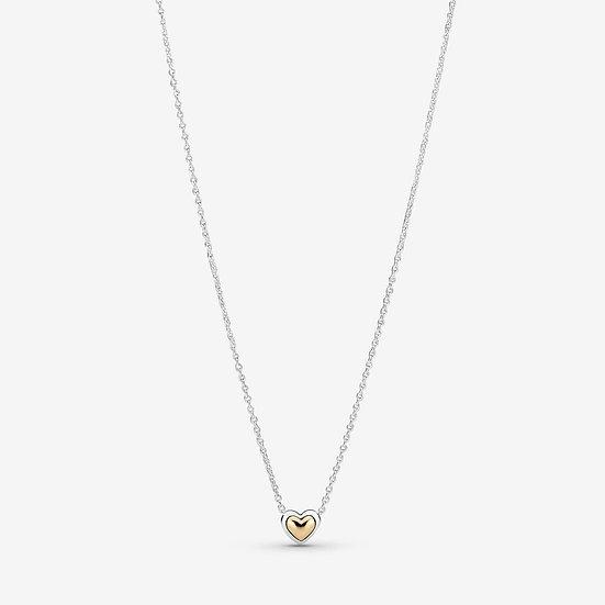 Pandora Domed Golden Heart Collier Necklace