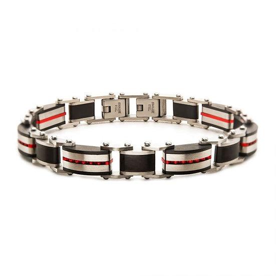 Black & Red Plated Dante Link Bracelet