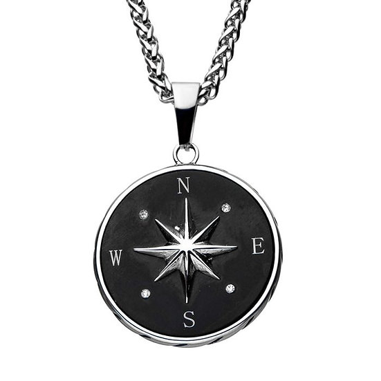 Stainless Steel and Black Plated Compass Pendant
