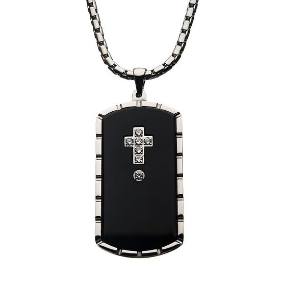 Black Agate Swarovski CZ Steel & Black Plated Dog Tag Pendant with Chain
