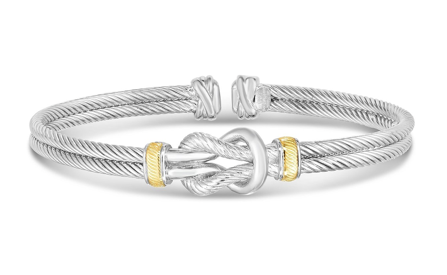 Sterling Silver, 18K Gold Knot Cuff
