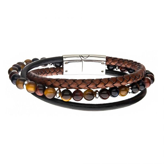 Tiger Eye Beads with Brown Braided and Black Leather Layered Bracelet