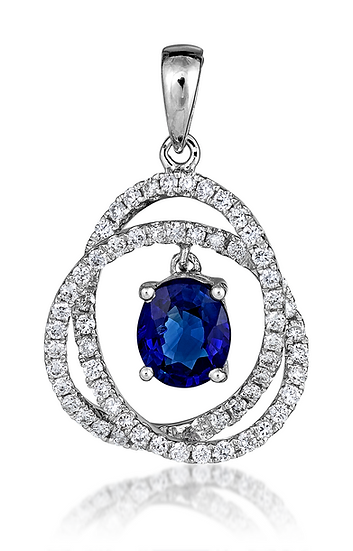 18k WG Sapphire and Diamond Pendant
