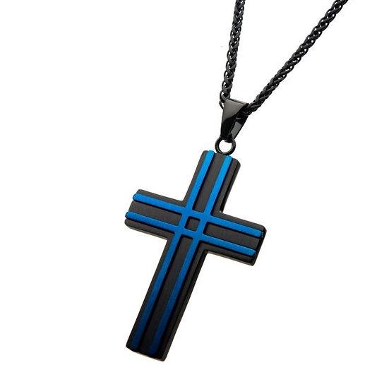 Matte Black & Blue Plated Layer Cross Pendant