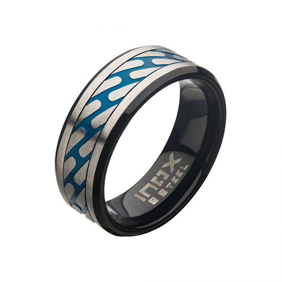 Matte Stainless Steel & Blue Curb Chain Ring
