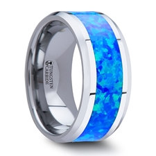 Titanium Blue Opal Inlay Mens Wedding Band