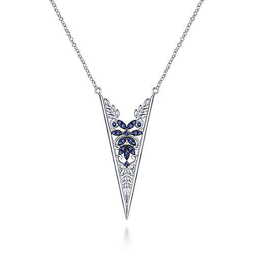 925 Sterling Silver Sapphire Openwork Floral Pendant Necklace