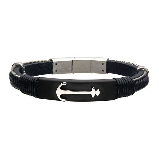 Black Leather with Steel Anchor Bracelet