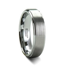Brush Finish Tungsten Carbide Ring with Raised Center
