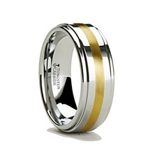 Tungsten Carbide Ring with Gold Inlay