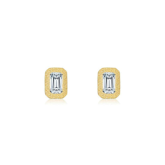 Lafonn Brushed Gold Simulated Diamond Earrings