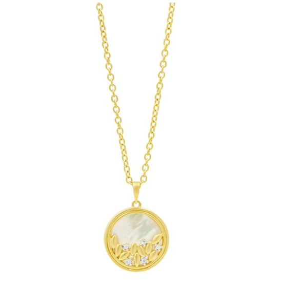 FLEUR BLOOM MOTHER OF PEARL ROUND PENDANT NECKLACE