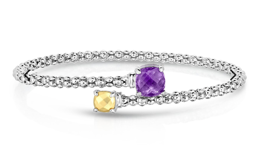 Sterling Silver & 18K Gold Gemstone Bypass Popcorn Bracelet in Amethyst