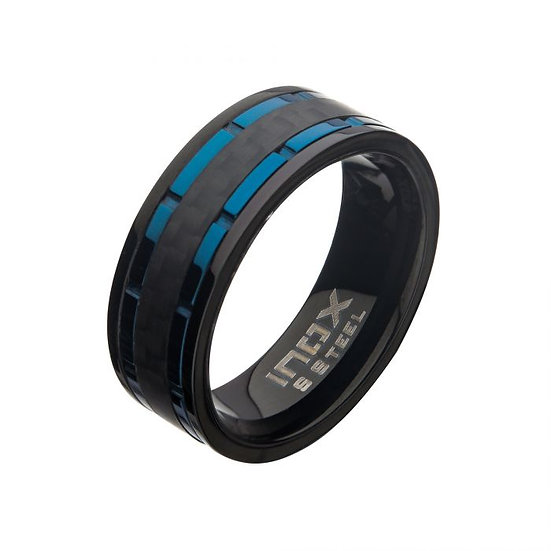 Blue/Black Carbon Fiber Hammered Ring