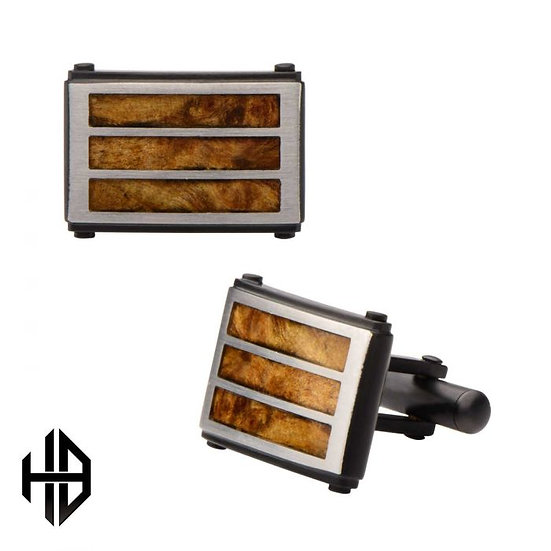 Hollis Bahringer Black Plated with Inlayed Palisander Rose Wood Cuff Links