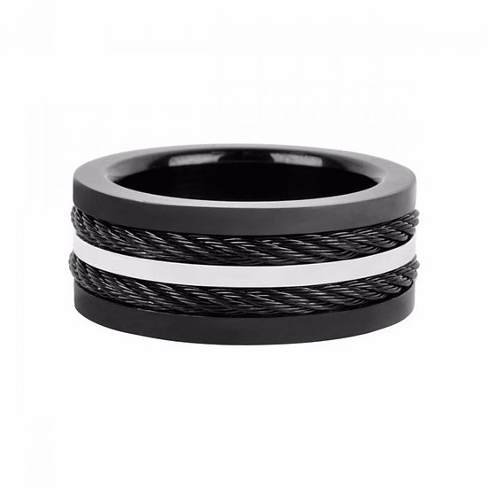 Multiple Cables Inlayed in Plated Black Ring