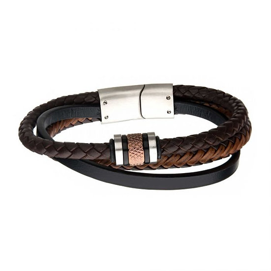 Black Plated and Rose Gold Beads with Brown Leather Layered Bracelet