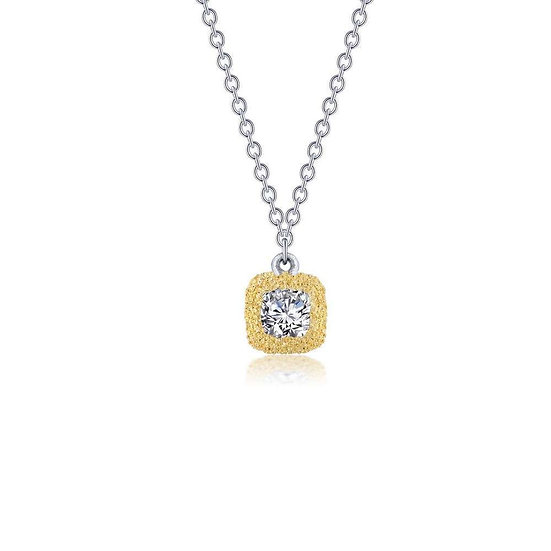 Lafonn Brushed Gold Cushion-Cut Necklace
