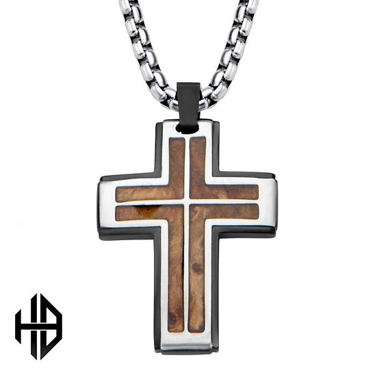 Hollis Bahringer Black Plated with Inlayed Palisander Rose Wood Cross