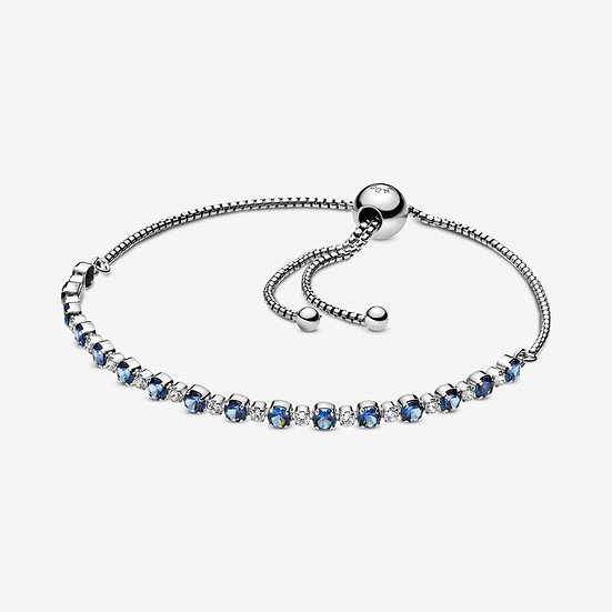 Pandora Blue and Clear Sparkle Slider Bracelet