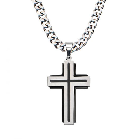 Black Plated & Steel Cross Pendant