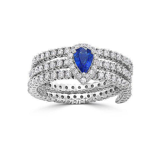 14k WG Sapphire Ring with Diamonds