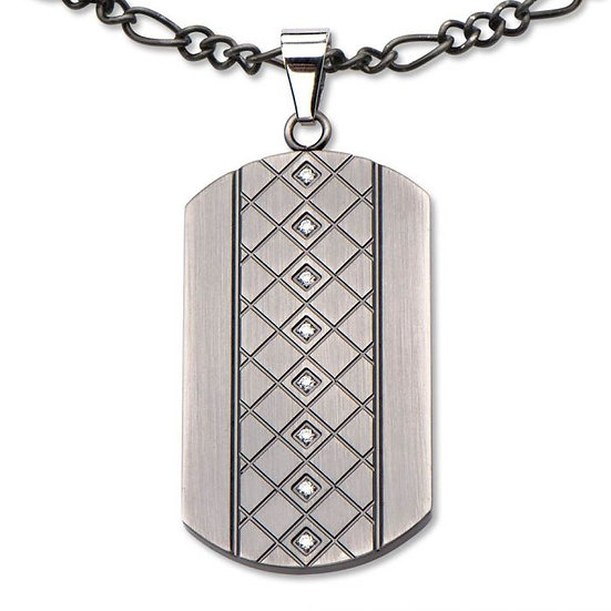 Steel Gunmetal Finished Multigem Dog Tag Pendant