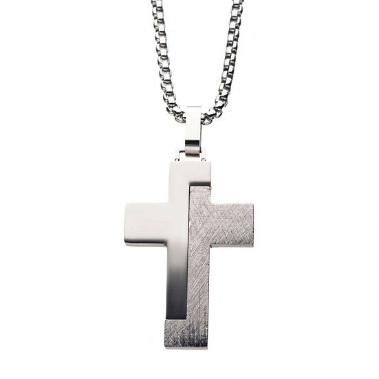 Modern Block-Textured Stainless Steel Cross Pendant