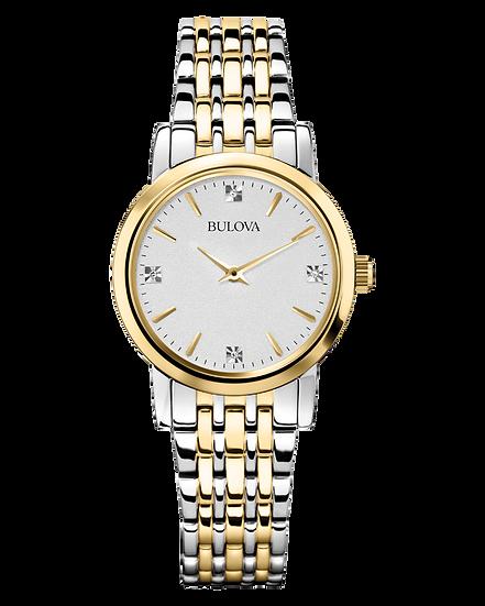 Bulova Classic Womens Gold Diamond Stainless Steel Watch