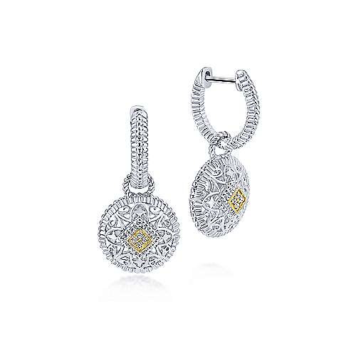 925 Sterling Silver and 18K Yellow Gold Vintage Inspired Round Diamond Drop Earr