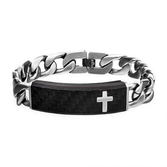 Carbon Fiber Black with Cross and Steel Adjustable Link ID Bracelet