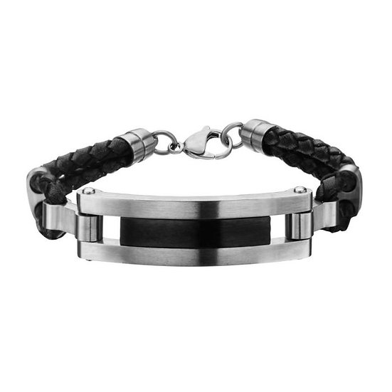 Matte Black Finished ID in Black Leather Bracelet with Losbter Clasp