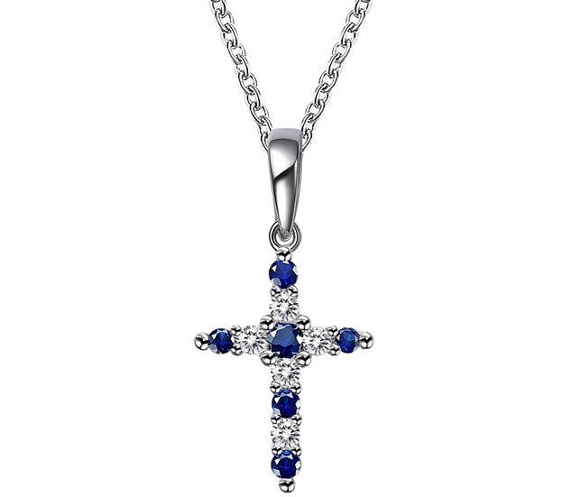 Lafonn Lab Created Sapphire Cross Necklace