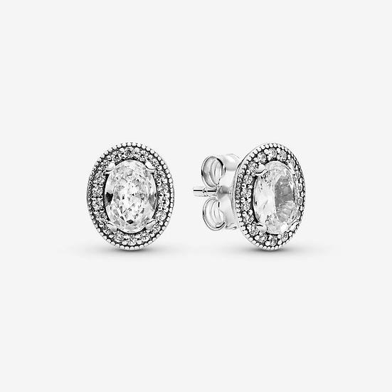 Pandora Oval Sparkle Halo Stud Earrings