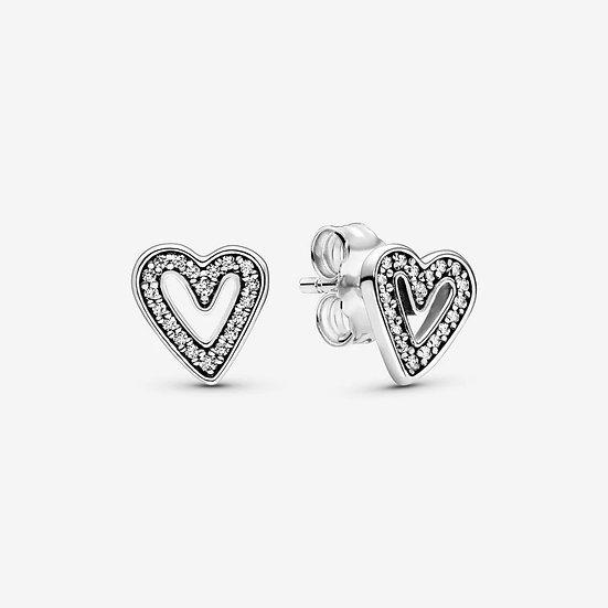 Pandora Sparkling Freehand Heart Stud Earrings
