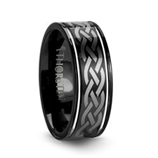 Black Tungsten Carbide Ring with Celtic Design