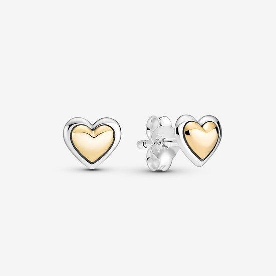 Pandora Domed Golden Heart Stud Earrings
