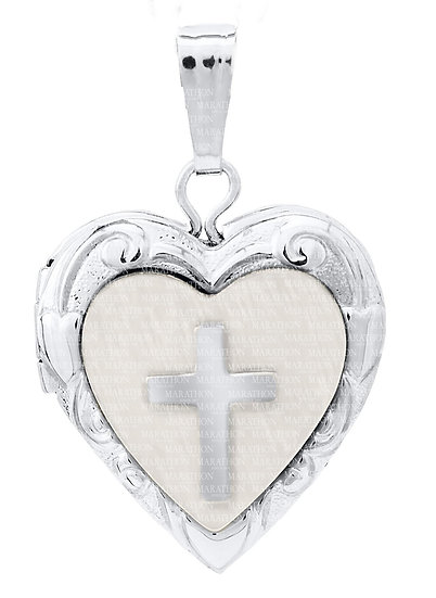 SS HEART LOCKET WITH MOTHER OF PEARL & CROSS